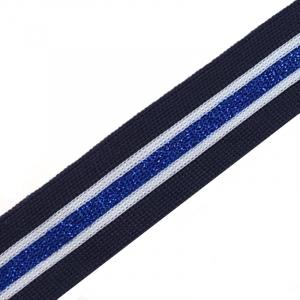 Лампасы №54 синяя белая голубой с люриксом 3 см уп 10 м