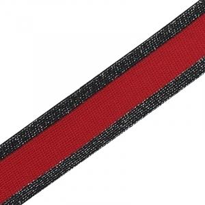 Лампасы №53 черная красная черная с люриксом 3 см уп 10 м