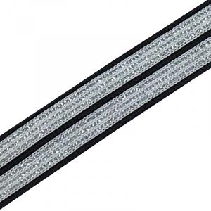 Лампасы №51 черно белые полосы серебро 2 см уп 10 м