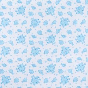Ткань на отрез фланель 90 см 98031 Коты цвет голубой
