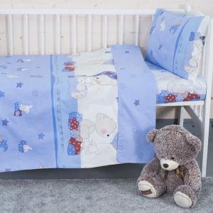 Постельное белье в детскую кроватку 1636/2 Мой ангелочек голубой поплин с простыней без резинки
