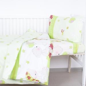 Постельное белье в детскую кроватку 1636/3 Мой ангелочек зеленый поплин с простыней без резинки