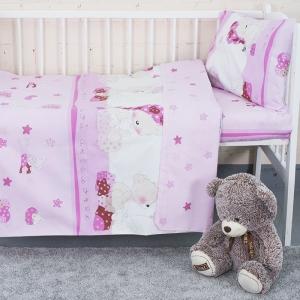 Постельное белье в детскую кроватку 1636/4 Мой ангелочек розовый поплин с простыней без резинки