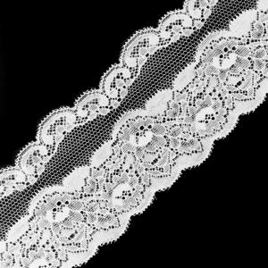 Кружево эластичное  7,5см белый 2267 1м