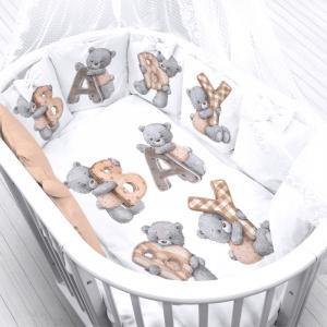 Ткань на отрез перкаль детский 150/37.5 см 19 Мишка с буквами