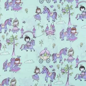 Ткань на отрез поплин 150 см 1805/2 Маленькие принцессы цвет мята