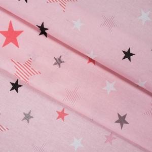Бязь плательная 150 см 8127/1 Звезды компаньон Мишки (пэчворк) розовый
