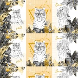 Вафельное полотно набивное 150 см 3091-2 Белый тигр