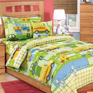 Постельное белье в детскую кроватку 192832 Машинки 2 зел