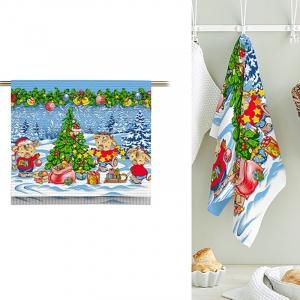 Полотно вафельное 50 см набивное арт 60 Тейково рис 5649 вид 1 Новогодние радости