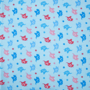 Ткань на отрез фланель 90 см 5849/2 Слоники цвет голубой