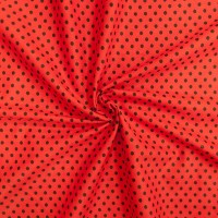 Бязь плательная 150 см 1359/6 цвет красный фон черный мелкий горох