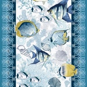 Ткань на отрез вафельное полотно 50 см 5619/1 Рыбки