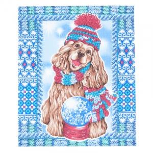 Ткань на отрез вафельное полотно 50 см 170 гр/м2 19928/1 Дружок 1 цвет голубой