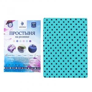 Простыня трикотажная на резинке цвет горох 60/120/12 см