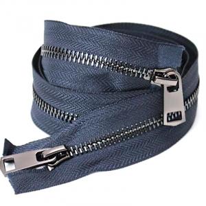 Молния металл №5 черный никель два замка 100см D196 темно синий