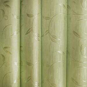 Портьерная ткань 150 см 6 цвет зеленый ветка-лист