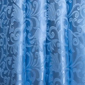 Портьерная ткань 150 см 68 цвет голубой вензель