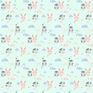 Ткань на отрез фланель 75 см 9855/2 Зайка и сова цвет мята