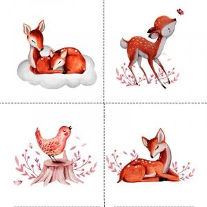 Ткань на отрез перкаль детский 150/37.5 см 05 Оленята цвет оранжевый