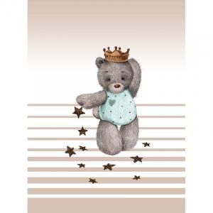 Ткань на отрез перкаль детский 112/150 см 02 Мишка-принц цвет белый