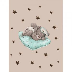 Ткань на отрез перкаль детский 112/150 см 02 Спящий мишка цвет серый
