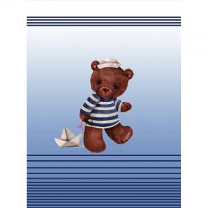 Ткань на отрез перкаль детский 112/150 см 04 Мишка-морячок цвет синий