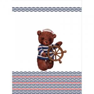 Ткань на отрез перкаль детский 112/150 см 04 Мишка-морячок со штурвалом цвет белый