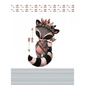 Ткань на отрез перкаль детский 112/150 см 07 Енот-охотник