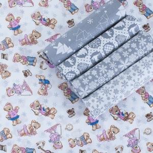 Набор отрезов ткани Поплин 50/50 +/- 5 см 5 шт 320