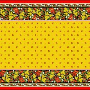 Вафельное полотно набивное 150 см 195/3 Хохлома цвет жёлтый