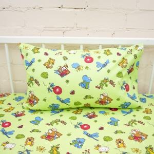 Наволочка бязь детская 383/2 Зоопарк цвет зеленый 40/60 см