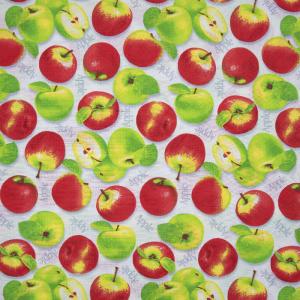 Ткань на отрез вафельное полотно набивное 150 см 429/1 Яблоки