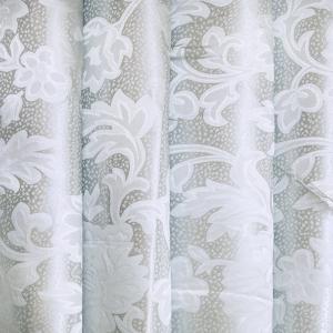 Портьерная ткань 150 см 16 цвет серый листья
