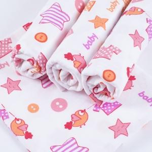 Набор детских пеленок фланель 4 шт 75/120 см 7200/2 Малышок розовый