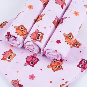 Набор детских пеленок фланель 4 шт 75/120 см 5225/3 Совушки розовый