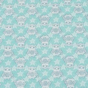 Ткань на отрез бязь ГОСТ Шуя 150 см 9946/3 Совушки цвет мята
