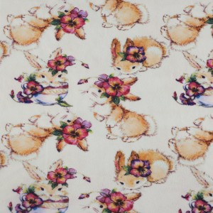 Ткань на отрез флис Кролики