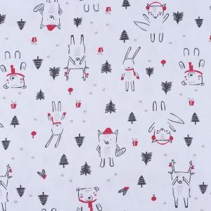 Ткань на отрез интерлок Новогодний лес 3421-20 цвет белый