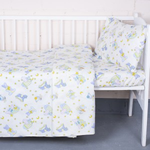 Постельное белье в детскую кроватку 9841/1 Кроха поплин с простыней на резинке
