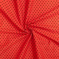 Ткань на отрез бязь плательная 150 см 1359/6 красный фон черный горох