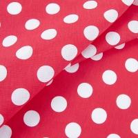 Ткань на отрез бязь плательная 150 см 1422/1 красный фон белый горох