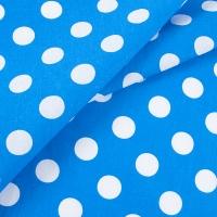 Ткань на отрез бязь плательная 150 см 1422/2 голубой фон белый горох