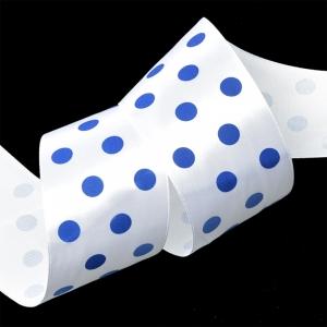 Лента атласная горох ширина 50 мм (27,4 м) цвет белый-синий