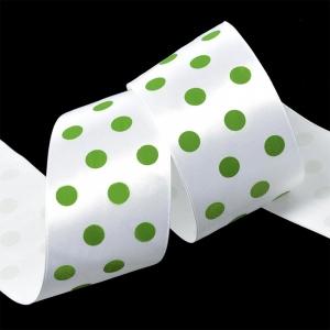 Лента атласная горох ширина 50 мм (27,4 м) цвет 029579 белый-зеленый