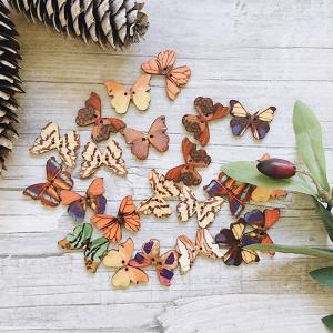 Пуговицы Бабочки из дерева цветные