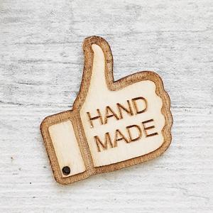 Ярлык-бирка из дерева Hand Made 40х39мм