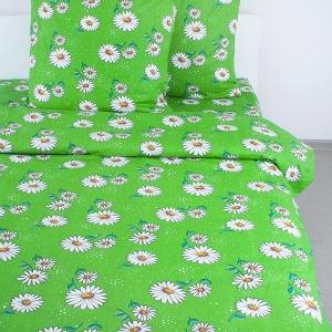 Постельное белье бязь 1579/2 Ромашки цвет зеленый Стандарт 1.5 сп