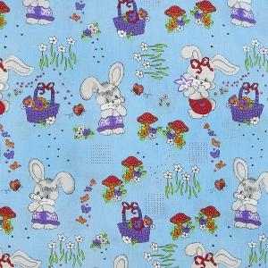 Ткань на отрез бязь ГОСТ детская 150 см 1304/4 Лесная сказка цвет голубой
