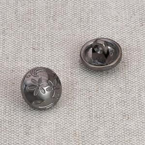 Пуговица металл ПМ67 11мм черный никель Цветочный рисунок уп 12 шт